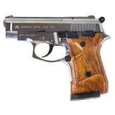 Plynová pistole Atak Zoraki 914 Auto chróme, kal.9 mm, pažba dřevo
